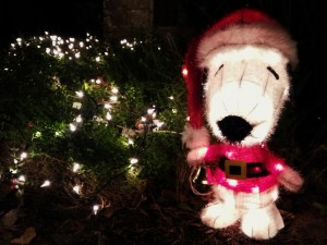 Snoopy in a Santa suit